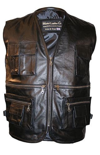 Multi-Pocket Leather Waistcoat for Biking, Hiking, Fishing and many more!