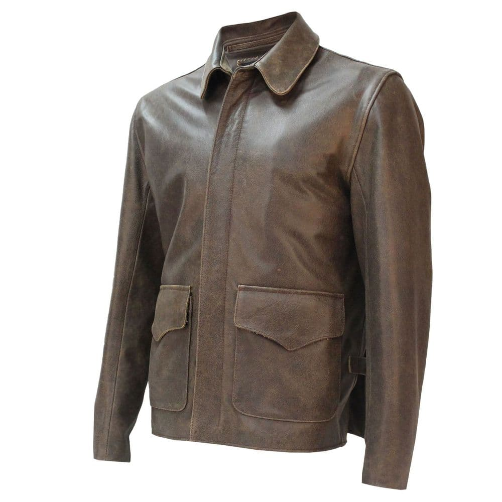 Raiders of Lost Ark Leather Jacket in Pre-distressed Hide Authentic