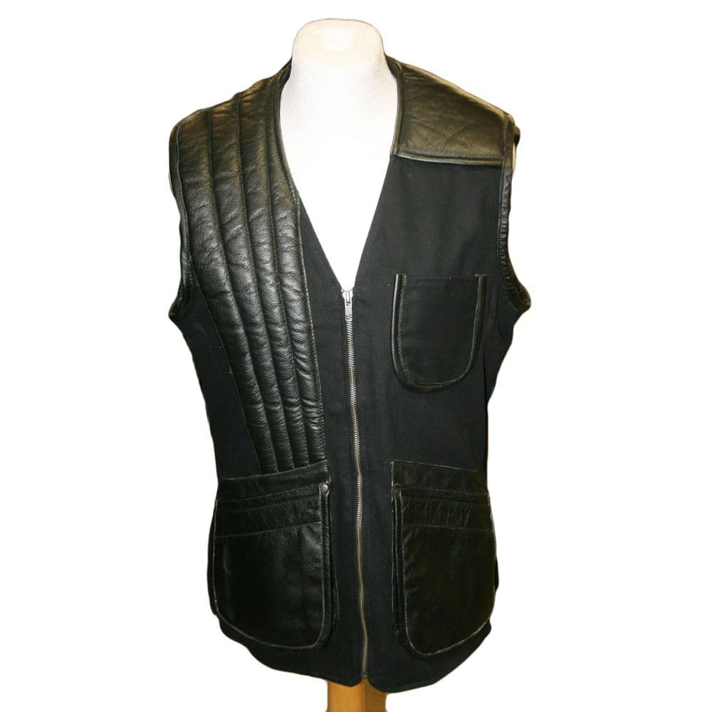 Right Handed Skeet/Shooting Vest in Black Hide with Cotton aspects
