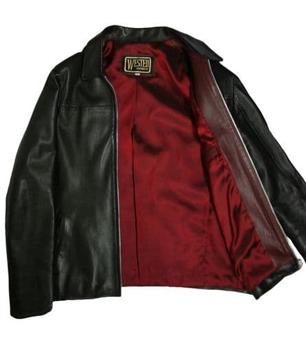 "Soft Lambskin Leather ""Layer Cake"" Style Jacket with Red Insides"