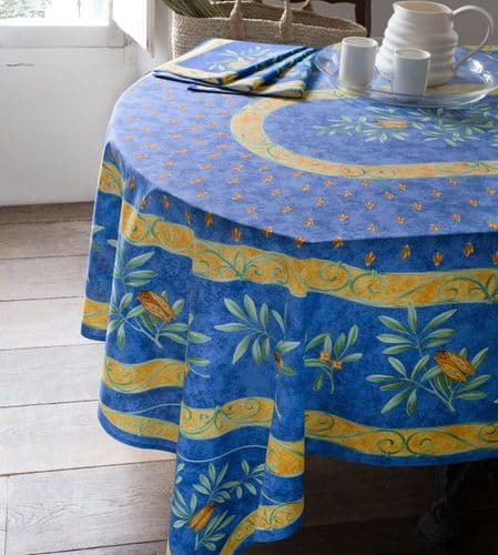 Cicadas Tablecloth Rectangular 250cms with centre placed design Blue