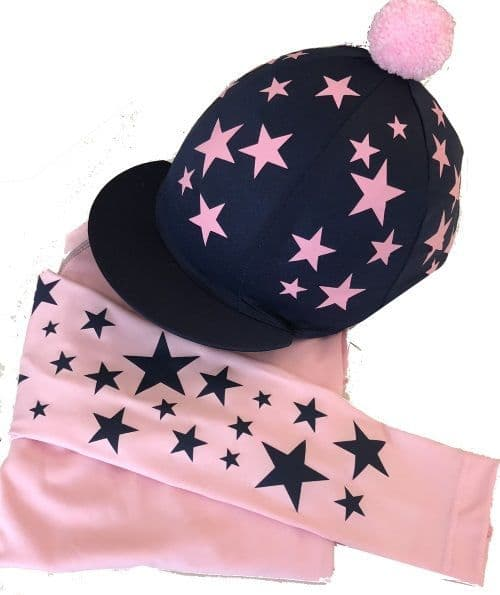 Adult's Baby Pink/Navy  Base Layer  Hat Silk