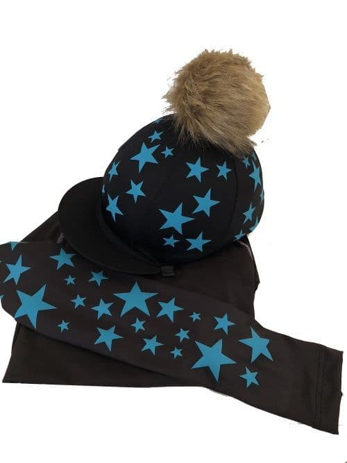 Adult's Black/Turquoise Base Layer &  Hat Silk