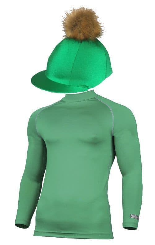 Adult's Green Base Layer & Hat Silk (Faux Fur Pompom)