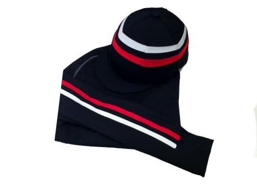 Adult's Navy Base Layer & Hat Silk With Fine Stripes