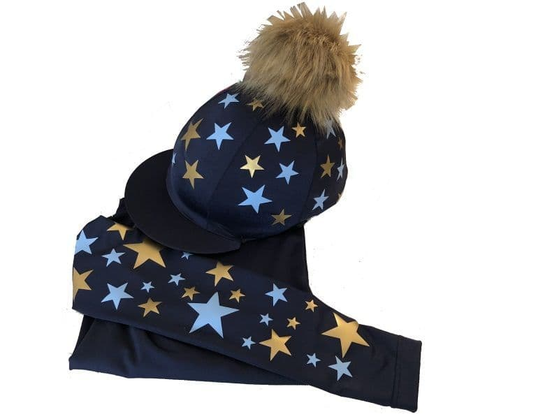 Adult's Navy/gold/sky  Base Layer & Hat Silk