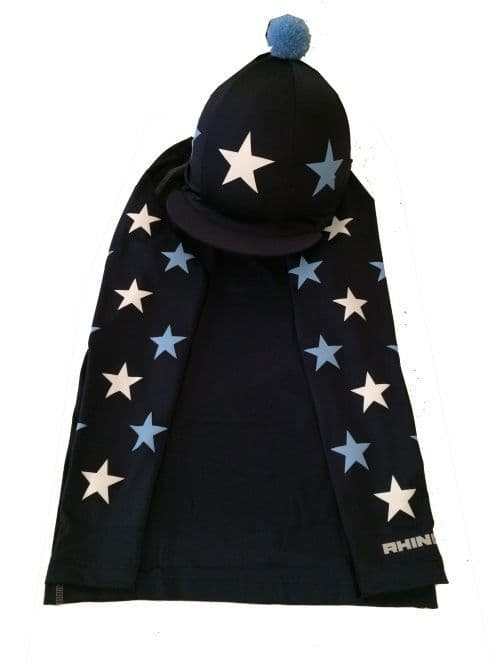 Adult's Navy/white/baby Blue Base Layer & Hat Silk