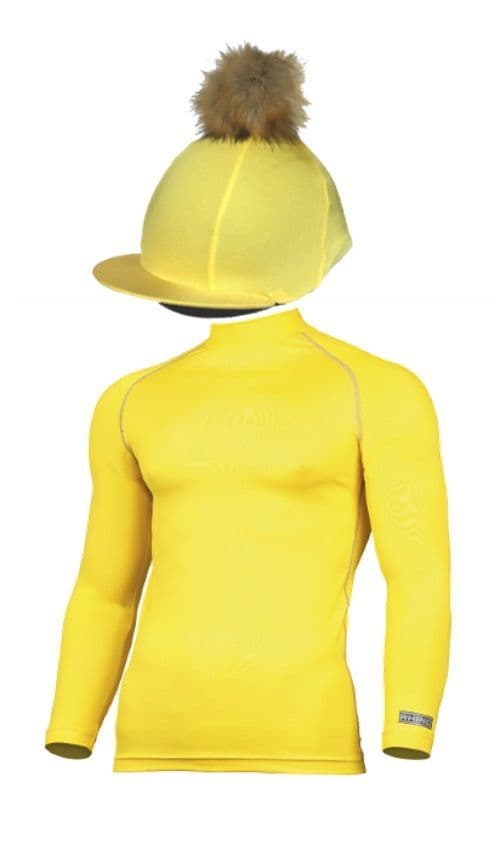 Adult's Yellow Base Layer & Hat Silk (Faux Fur Pompom)