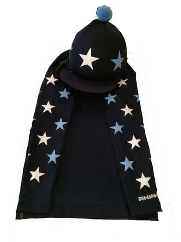 Children's Base Layer & Hat Silk Navy With White and Baby Blue Stars