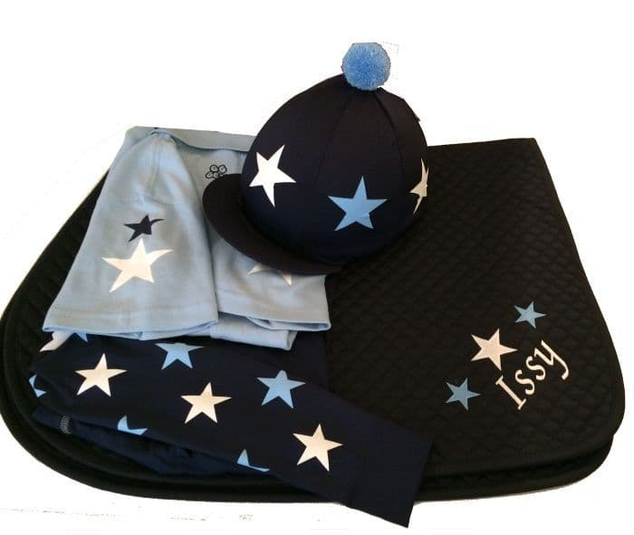 Childrens Baby Blue/White/Navy Base Layer Cross Country Colours With Stars