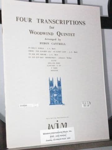 Four Transcriptions for Wind Quintet arr Cantrell B