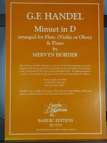Handel G F - Minuet in D from Jephtha for Flute (or Oboe) & Piano arr Horder M