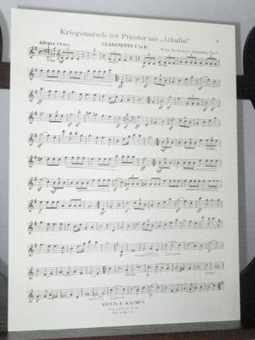 Mendelssohn F - War March of the Priests from Athalia Op 74 Clarinet 1 Part