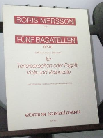 Mersson B - 5 Bagatelles Op 46 for Bassoon Viola & Violoncello