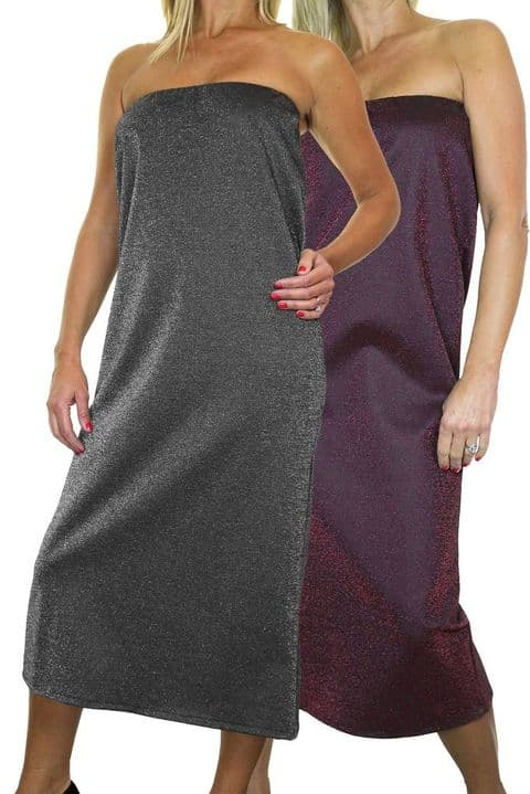 Ladies Bandeau Maxi Dress Stretchy Glitter