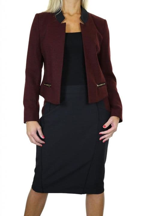 Ladies Burgundy Plum /Black Tweed Jacket Skirt Suit