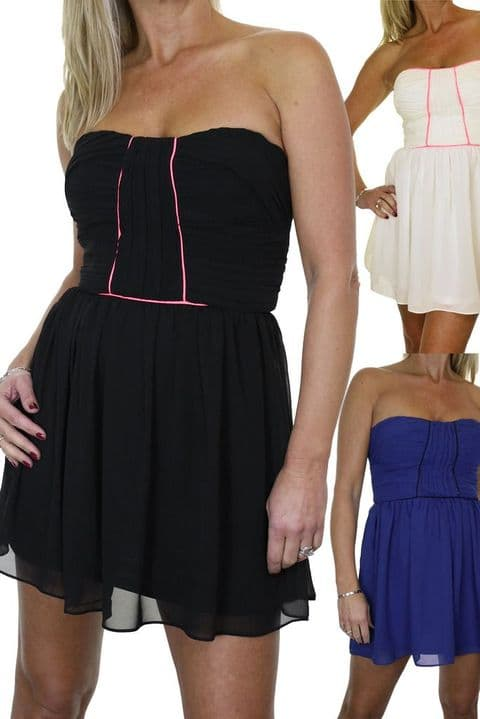 Ladies Strapless Skater Style Chiffon Dress