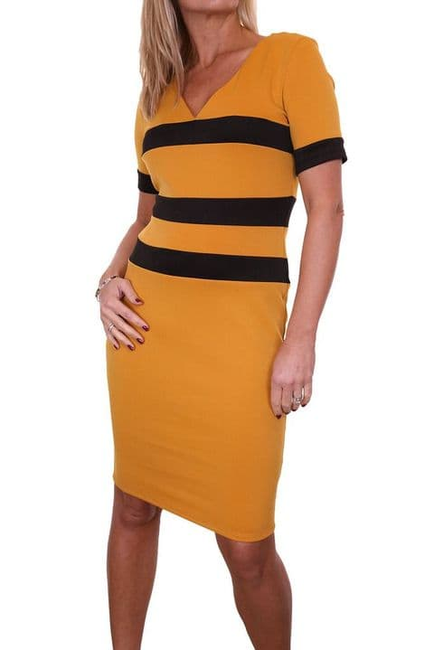 Ladies Stretch Knee Length Bodycon Dress