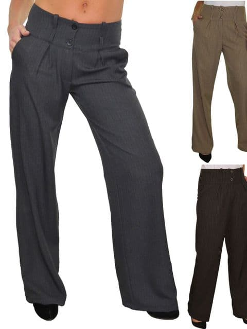 Ladies Wide Leg Smart Pinstripe Trousers