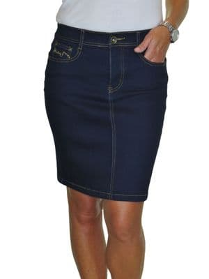 Stretch Denim Jeans Skirt Sequins Detail