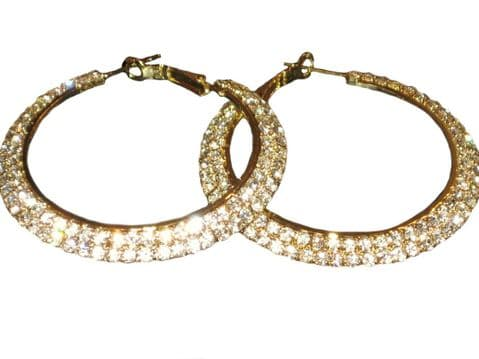 Two Row Diamante  Wide Hoops Gold