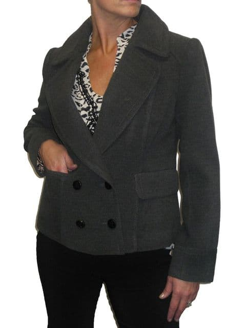 Womens Fully Lined Wool Feel Double Breasted Short Jacket