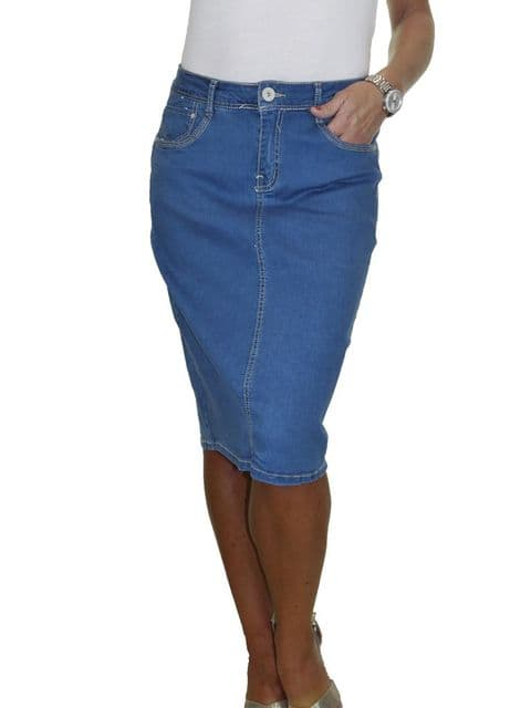 Womens Stretch Denim Jeans Skirt Soft Wash