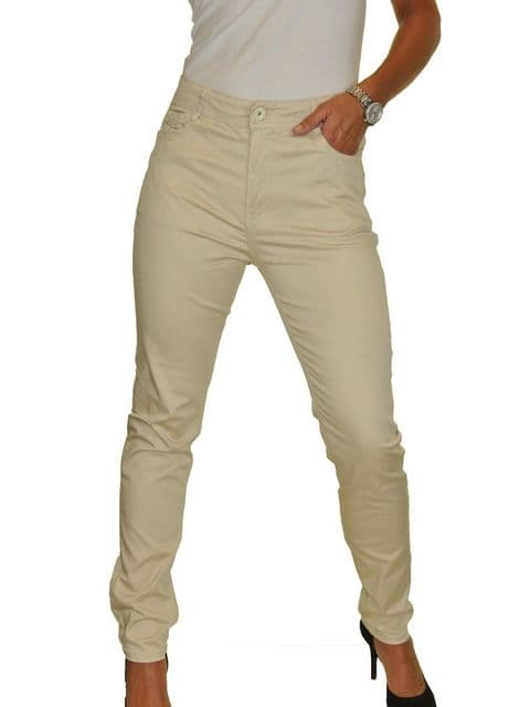 Beige Stretch Chino High Waist Slim Leg Jean