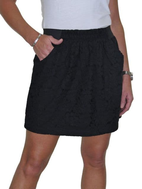 Black Crochet Lace  Short Easy Fit Mini Skirt