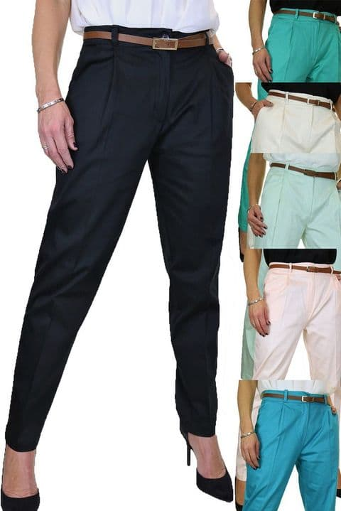 Chino Pleated Tapered Cigarette Leg Trousers