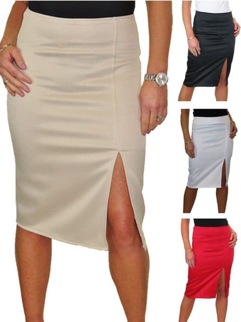 Front Thigh Split Midi Stretch Pencil Skirt