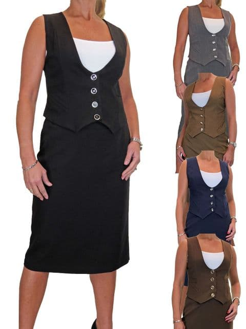 Fully Lined Waistcoat Skirt Suit