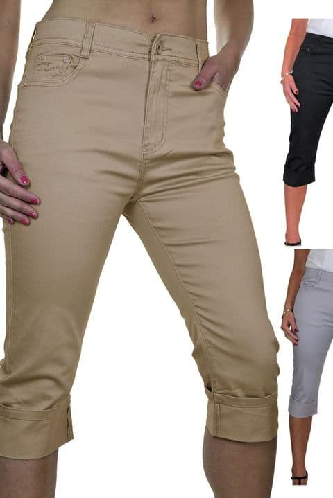 High Waist Stretch Chino Crop Leg Capri Jeans