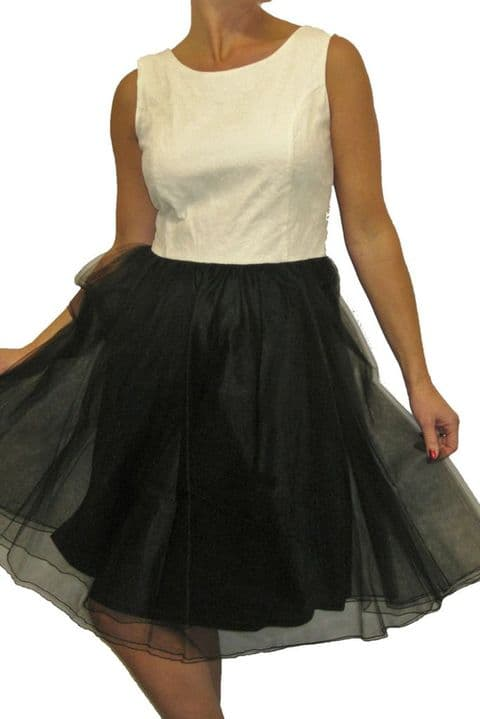 Ladies 50's Rockabilly Mesh Dress With Cream Lace