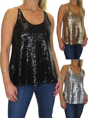 Ladies All Over Sequin Muscle Back Top