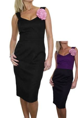 Ladies Brocade Pencil Dress with Flower Fully Lined