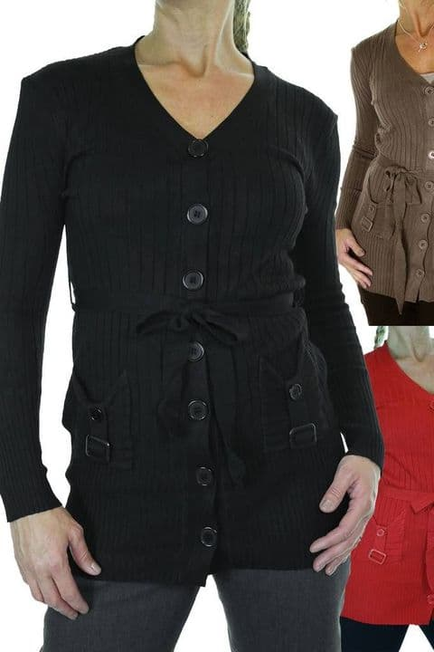 Ladies Button Front Cardigan Thin Rib Knit