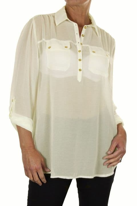 Ladies Chiffon Shirt Blouse Top With Gold Buttons