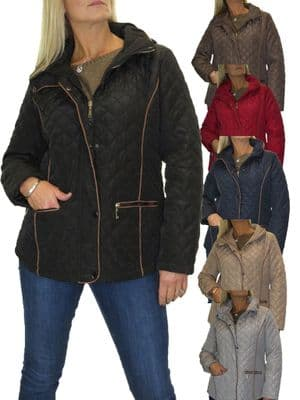 Ladies Diamond Quilted Jacket With Hood