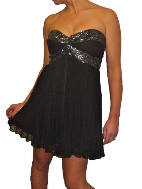 Ladies Flared Chiffon Party Mini Dress With Sequins