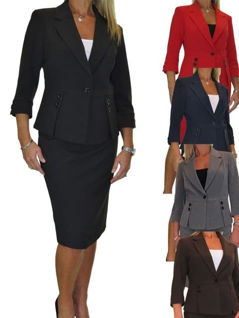 Ladies Fully Lined  Business Skirt Suit