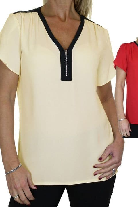 Ladies Georgette Shirt Top With Zip Detail