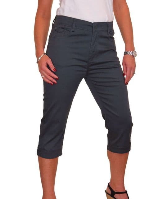 Ladies High Waist Chino Sheen Capri Jeans