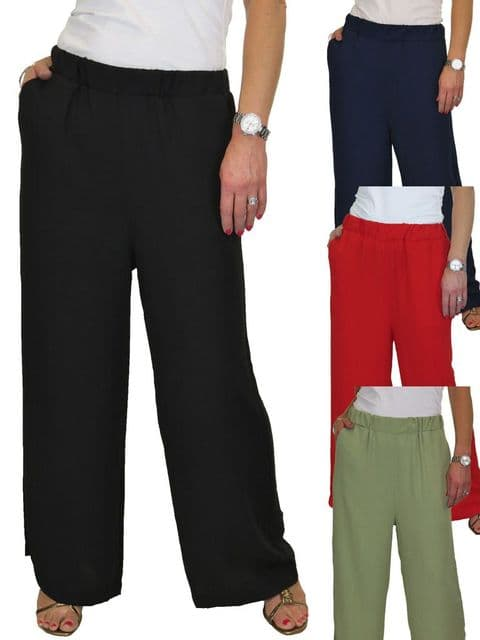 Ladies High Waisted Wide Leg Palazzo Trousers