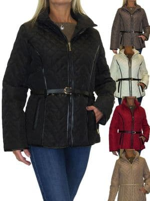 Ladies Lightweight Quilted Jacket With A Belt
