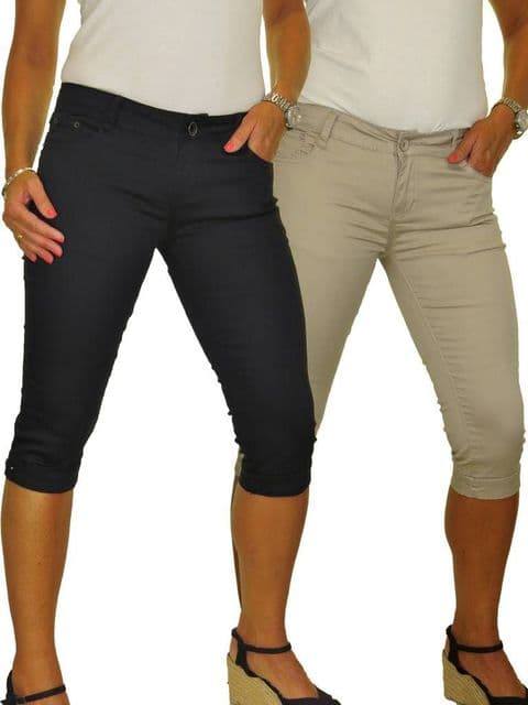 Ladies Low Waist Capri Stretch Chino Sheen Jeans