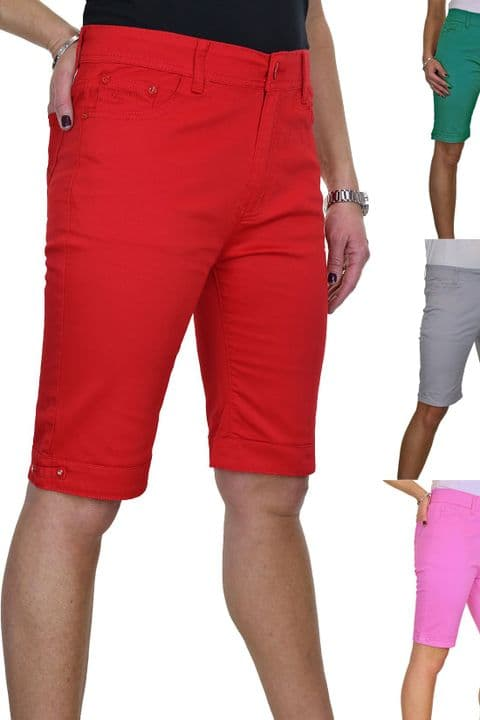 Ladies Plus Size Stretch Chino Sheen Jeans Shorts