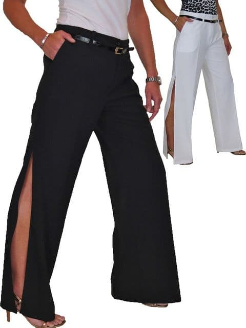 Ladies Side Split Wide Leg Trousers