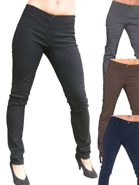 Ladies Skinny Fit Low Rise Black Stretchy Trouser