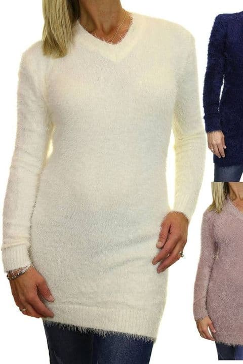 Ladies Soft Knit V Neck Tunic Jumper